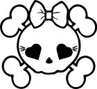 Skull Girl Car Window Vinyl Wall Home Decor Decal Quote Inspirational Adorable