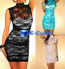 New Women's High-neck Lace Folded Hollow Tight Package Hip Club Dress 3 Colors