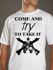 COME and TRY to TAKE it 2nd Amendment tshirt FRONT black white tee shirt mens