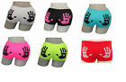 New Womens Ladies Girls Neon Hand Print Underwear Hot Pants Brief Boxer Shorts