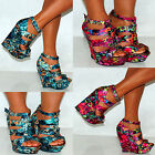 LADIES WOMEN FUCHSIA PLATFORMS GREEN PINK MULTI COLOUR STRAPPY WEDGES HIGH HEELS