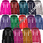 LADIES WOMENS PLAIN HOODIE HOODED ZIP TOP ZIPPER SWEATSHIRT JACKET COAT STRING