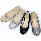 New Shining round toe Ballet Flats Sequin Dress womens causal shoes