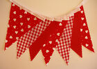 BUNTING Red - Hearts, Gingham & Plain - 3m, 5m or 10m - WEDDING VALENTINE