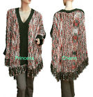 Knit Poncho in Green Pink Beige White Bat Long Sleeves One Size to Fit 10 to 18