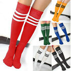 Womens Football Elastic Knee High Stripe Tube Socks Sportswear Soccer Stockings