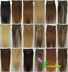 15-30inch Clip In Real Human Hair Extensions Straight Any Length Color Wholesale