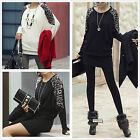Women's Loose Batwing Tops Leopard Print T-Shirt Long Sleeve Casual Blouses M