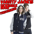 VARSITY JACKET WITH HOOD - Letterman College Baseball S M L XL Personalised NEW
