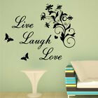 LIVE LAUGH LOVE BUTTERFLY decal living bed room swirl floral stickers wall quote