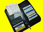 Large Leather Travel Wallet For Passports Tickets Credit Cards - Black Brown