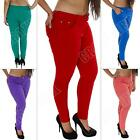 New Womens High Waisted Colour Jeans Jeggings Skinny Plus Size 12-14-16-18-20-22
