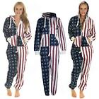 New Adult Unisex Womens Mens USA Flag Print Fleece Onesie All In One Jumpsuit