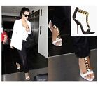 New Ladies T-Strappy Chain Open Toe Pumps Leather Heels Gladiator Sandals Shoes