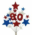 NUMBER RED/WHITE/BLUE BIRTHDAY CAKE TOPPER 18th,21st,30th,40th,50th,60th,70th,80
