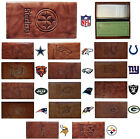 CHOOSE TEAM Checkbook Cover New NFL Highest Quality All Leather Brown Marbled