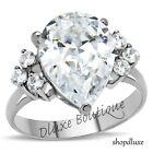 5.60 Ct Pear Shape AAA CZ Stainless Steel Engagement Ring Band Women's Size 5-10