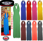 Womens Halterneck Maxi Dress Ladies Stretchy Jersey Maxi Dress