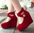 Ladies Faux Suede Buckle Strap Zipped Platform Wedge High Heel Court Shoes S008