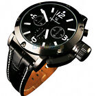 Fashion Cool Boys Mens Analog Leather Quartz Steel Wrist Watch Daily Waterproof