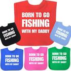 Born Fishing 100% Cotton Velcro Bibs Fun Slogan Baby Shower Clothes Girls Boys