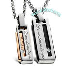 MADE IN KOREA Rose Gold LOVE Devotion Couple Lover Necklace SET Stainless Steel
