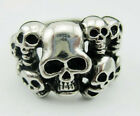 Punk Mens Silver Terror Stack Skulls Finger Ring Stainless Steel