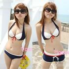 Women Sexy Halter w/ 2 Bottoms Bikini Beachwear Swimsuit Swimwear Short Pads Hot