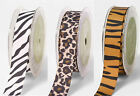 May Arts Animal Print Grosgrain Ribbon 22mm Wide Zebra Leopard Tiger Sewing