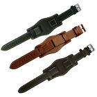 Military Watch Strap Leather Black, D-Brown, Tan Chrome buckle size 18mm, 20mm