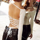 HOT Sexy Women Scoopneck Long Sleeve Slim Tops Backless T-Shirt two ways to wear