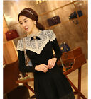 Fashion Women's Long Sleeve Lace Tops Button Down Shirt Stand Collar Slim Blouse