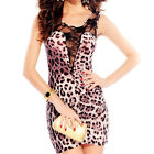 New Women Sexy Leopard See Through Lace Sleeveless Bodycon Mini Dress clubwear