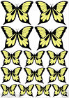 14 BLACK & CREAM Mixed Size BUTTERFLIES Edible Rice Paper Cake Toppers DECORATE