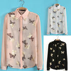 New Lady's Printing Butterflies Lapel Metal Collar Long-sleeved Tops Blouse D122