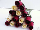 BURGUNDY WINE & CREAM WHOLESALE STOCK CLEARANCE WEDDING FLOWERS WOODEN ROSES