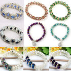 Women Faceted Rondelle Beads Pearl Crystal Glass Elastic Stretch Bangle Bracelet