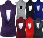 Womens Plus Size Insert Vest Cowl Neck Top Gathered Tunic Tops