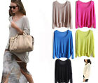 Womens Knitted Batwing Lady Casual Loose Asymmetric Pullover Sweater Coat Tops