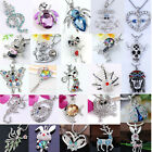 Fashion Various Animal Silvery Crystal Enamel Bead Charm Pendants For Necklace