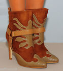 TAN BROWN COWBOY POINT FAUX LEATHER SUEDE STILETTO ANKLE BOOTS HIGH HEELS SHOES