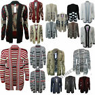 WOMEN LADIES KNITTED OPEN BLACK AZTEC PRINT BOYFRIEND WOMEN CARDIGAN SIZE 8-14
