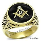 Men's 14k IP Gold Stainless Steel 316 Masonic Freemason Ring Band Size 8-14