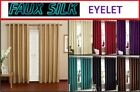 "NEW FAUX SILK EYELET CURTAINS ALL SIZES AND 6 COLOURS 66X54"" 66X72 66X90"" 90X90"""