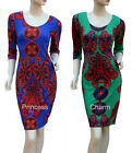 SZ 8 10 12 14 16 Day Dress Green Blue with Paisley Print 3/4 Sleeve Knee Length