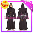MENS FRIAR TUCK MONK GHOUL ROBE PRIEST FANCY DRESS UP HALLOWEEN COSTUME