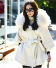 Ladies Vogue Winter Faux Fox Fur Wool Cashmere Hooded Jacket Coat Parka S M L