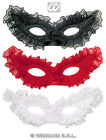 RED, BLACK OR WHITE LACE CARNIVAL MASQUERADE EYE MASK FANCY DRESS