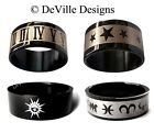 STAR ZODIAC ROMAN NUMERALS ~GLOSSY BLACK STAINLESS STEEL RING / MENS LADIES BAND