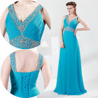 Bling Sexy V Bridesmaid Chiffon Evening Party Formal Prom Ball Gown Long Dresses